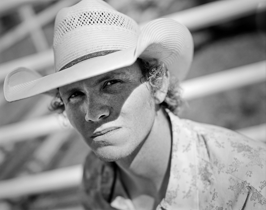 Bareback rider Darrell Smith, of Fruita, Colo, at the Earl Anderson Memorial Rodeo in Grover, Colo.