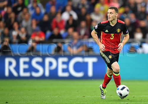 13.06.2016. Lyon, France.  Thomas Vermaelen of Belgium plays the ball into midfield during the Group E  match of the UEFA EURO 2016 between Belgium and Italy at the Stade de Lyon in Lyon, France, 13 June 2016.
