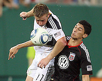 Pablo Hernandez #21 of D.C. United battles for the ball against Chris Birchall #11 of the Los Angeles Galaxy during an MLS match at RFK Stadium on July 18 2010, in Washington D.C. Galaxy won 2-1.