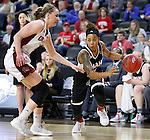 SIOUX FALLS, SD: MARCH 5: Marissa Preston #14 of Omaha drives on Ciara Duffy #24 of South Dakota during the Summit League Basketball Championship on March 5, 2017 at the Denny Sanford Premier Center in Sioux Falls, SD. (Photo by Dick Carlson/Inertia)