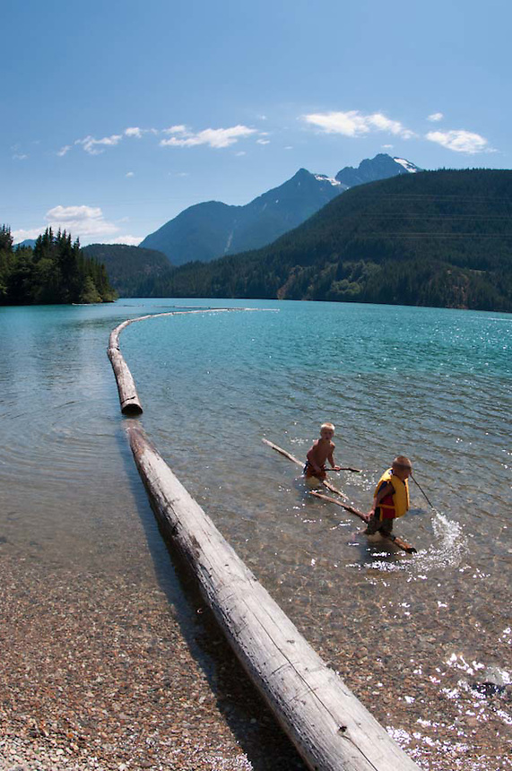Kids at Diablo Lake, North Cascades National Park, Washington, US