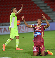 IBAGUÉ -COLOMBIA, 26-02-2017. Angelo Rodriguez jugador del Deportes Tolima celebra después de anotar un gol a Envigado FC durante partido por la fecha 6 de la Liga Águila I 2017 jugado en el estadio Manuel Murillo Toro de Ibagué. / Angelo Rodriguez player of Deportes Tolima celebrates after scoring a goal to Envigado FC during match for date 6 of the Aguila League I 2017 played at Manuel Murillo Toro stadium in Ibague city. Photo: VizzorImage / Juan Carlos Escobar / Cont