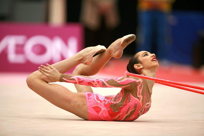 Daria Kushnerova of Ukraine...closeup image turning flexibility on carpet during hoop routine at Aeon Cup Worldwide Club Championships in rhythmic gymnastics on November19, 2006 at Mie, Japan.<br />