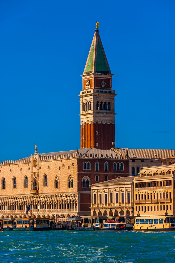 Doge's Palace (Palazzo Ducale) with the Campanile (Bell Tower) behind, Piazza San Marco, Venice, Italy.