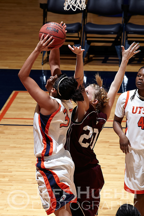 SAN ANTONIO, TX - NOVEMBER 3, 2012: The McMurry University War Hawks vs. the University of Texas at San Antonio Roadrunners Women's Basketball at the UTSA Convocation Center. (Photo by Jeff Huehn)