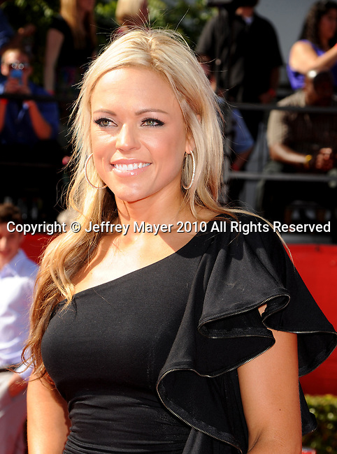 LOS ANGELES, CA. - July 14: Softball player Jennie Finch  arrives at the 2010 ESPY Awards at Nokia Theatre L.A. Live on July 14, 2010 in Los Angeles, California.