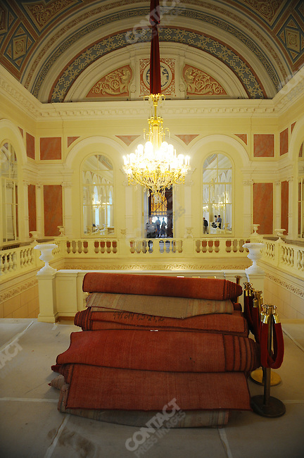 Rolls of red carpet on the first floor of The Bolshoi Theatre which has been undergoing major renovations since 2005 is set to reopen on October 28, 2011. Moscow, Russia, July 22, 2011