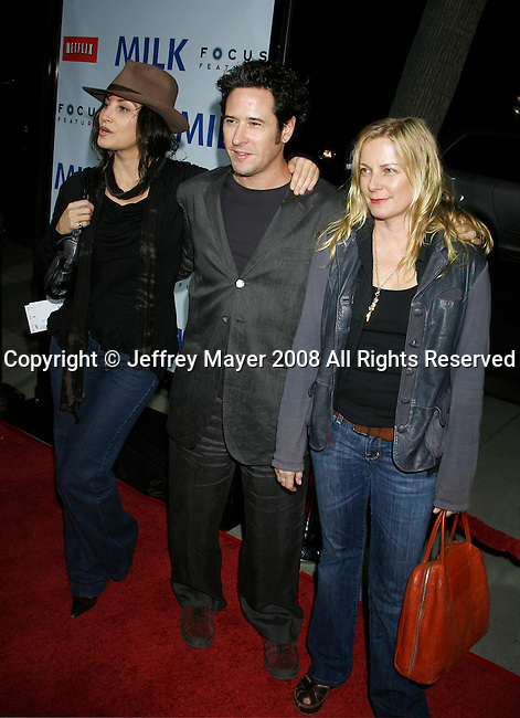 "BEVERLY HILLS, CA. - November 13: Actors Gina Gershon, Rob Morrow and wife Debbon Ayer arrive at the Los Angeles Premiere of ""Milk"" at the Academy of Motion Pictures Arts and Sciences on November 13, 2008 in Beverly Hills, California."