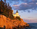 Acadia National Park, ME:  Bass Harbor Head Lighthouse (1858) in late evening light - Mount Desert Island