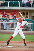 Ayendy Perez (3) of the Orem Owlz at bat against the Ogden Raptors in Pioneer League action at Home of the Owlz on June 20, 2015 in Provo, Utah.The Raptors defeated the Owlz 9-6.  (Stephen Smith/Four Seam Images)
