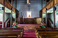 An interior view of Mokuaikaua Church, Kailua-Kona, Big Island.