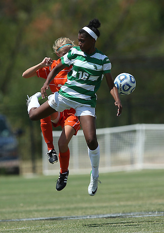 ARLINGTON, TX - AUGUST 25: Rachel Holden #16 of the North Texas Mean Green - Houston Baptist vs North Texas Mean Green Soccer at Mean Green Village Soccer Field in Denton on August 25, 2013 in Denton, Texas. Photo by Rick Yeatts