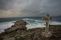 November 30, 2011 - Laxe (La Coruña). A cross has been place to remember all the fishermen who died in the ocean, many of them were percebeiros. © Thomas Cristofoletti 2011