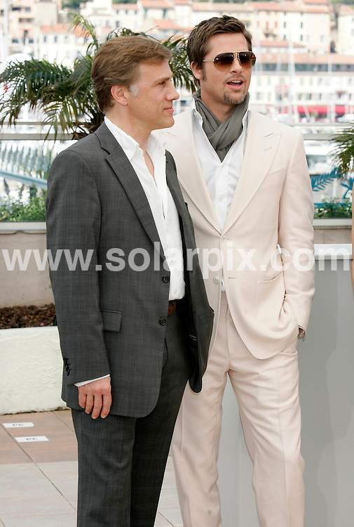 **ALL ROUND PICTURES FROM SOLARPIX.COM**.**SYNDICATION RIGHTS FOR UK AND SPAIN ONLY**.Quentin Tarantino, Melanie Laurent, Brad Pitt and Diane Kruger at a photocall for the film Inglorious Bastards, during the 62nd Cannes International Film Festival 2009, Cannes, France. 20 May 2009..This pic: Christophe Waltz and Brad Pitt..JOB REF: 9065 CPR (Heinz)  DATE: 20_05_2009.**MUST CREDIT SOLARPIX.COM OR DOUBLE FEE WILL BE CHARGED**.**ONLINE USAGE FEE GBP 50.00 PER PICTURE - NOTIFICATION OF USAGE TO PHOTO @ SOLARPIX.COM**.**CALL SOLARPIX : +34 952 811 768 or LOW RATE FROM UK 0844 617 7637**