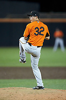 Frederick Keys relief pitcher James Teague (32) in action against the Buies Creek Astros at Jim Perry Stadium on April 28, 2018 in Buies Creek, North Carolina. The Astros defeated the Keys 9-4.  (Brian Westerholt/Four Seam Images)