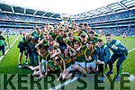 Kerry Minors celebrate with the Tom Markham Cup after defeating Derry in the All-Ireland Minor Footballl Final in Croke Park on Sunday.