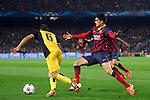 UEFA Champions League 2013/2014.<br /> Quarter-finals 1st leg.<br /> FC Barcelona vs Club Atletico de Madrid: 1-1.<br /> Koke vs Marc Bartra.,