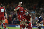 Hooker Ken Owens celebrates after Wales score another try.<br /> RBS 6 Nations 2014<br /> Wales v Scotland<br /> Millennium Stadium<br /> <br /> 15.03.14<br /> <br /> ©Steve Pope-SPORTINGWALES