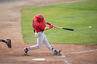 Orem Owlz second baseman Justin Jones (33) swings at a pitch during a Pioneer League game against the Missoula Osprey at Ogren Park Allegiance Field on August 19, 2018 in Missoula, Montana. The Missoula Osprey defeated the Orem Owlz by a score of 8-0. (Zachary Lucy/Four Seam Images)