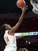 COLLEGE PARK, MD - DECEMBER 28: Diamond Miller #14 of Maryland goes up for  basket. during a game between University of Michigan and University of Maryland at Xfinity Center on December 28, 2019 in College Park, Maryland.