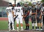 Torrance, CA 09/19/15 - Danyel Ledezma (Peninsula #82), Jack Grimes (Peninsula #20), Tyler Maseuli (Torrance #5), Ryan Carroll (Torrance #2) and Alexander Rogers (Torrance #88) in action during the Peninsula Panthers - Torrance Tartars Varsity football game at Torrance High School