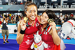 (L to R) <br />  Shihori Oikawa, <br />  Akiko Kato (JPN), <br /> AUGUST 31, 2018 - Hockey : <br /> Women's Final match <br /> between Japan 2-1 India  <br /> at Gelora Bung Karno Hockey Field <br /> during the 2018 Jakarta Palembang Asian Games <br /> in Jakarta, Indonesia. <br /> (Photo by Naoki Morita/AFLO SPORT)