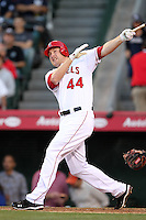 Los Angeles Angels first baseman Mark Trumbo #44 bats against the New York Yankees at Angel Stadium on June 4, 2011 in Anaheim,California. Larry Goren/Four Seam Images