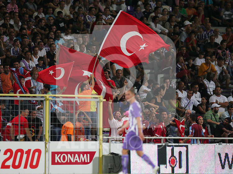 Trabzonspor fans wave the Turkish flag after scoring. Toulouse v Trabzonspor, Europa Cup, Second Leg, Stade Municipal, Toulouse, France, 27th August 2009.