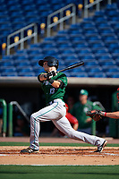 Daytona Tortugas second baseman Brantley Bell (13) follows through on a swing during the first game of a doubleheader against the Clearwater Threshers on July 25, 2017 at Spectrum Field in Clearwater, Florida.  Daytona defeated Clearwater 4-1.  (Mike Janes/Four Seam Images)
