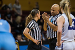 GRAND RAPIDS, MI - MARCH 18: Referees discuss a call during the Division III Women's Basketball Championship held at Van Noord Arena on March 18, 2017 in Grand Rapids, Michigan. Amherst College defeated Tufts University 52-29 for the national title. (Photo by Brady Kenniston/NCAA Photos via Getty Images)