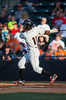 Cedric Mullins (11) of the Delmarva Shorebirds follows through on his swing against the Hickory Crawdads at L.P. Frans Stadium on June 18, 2016 in Hickory, North Carolina.  The Shorebirds defeated the Crawdads 4-2 in game two of a double-header.  (Brian Westerholt/Four Seam Images)