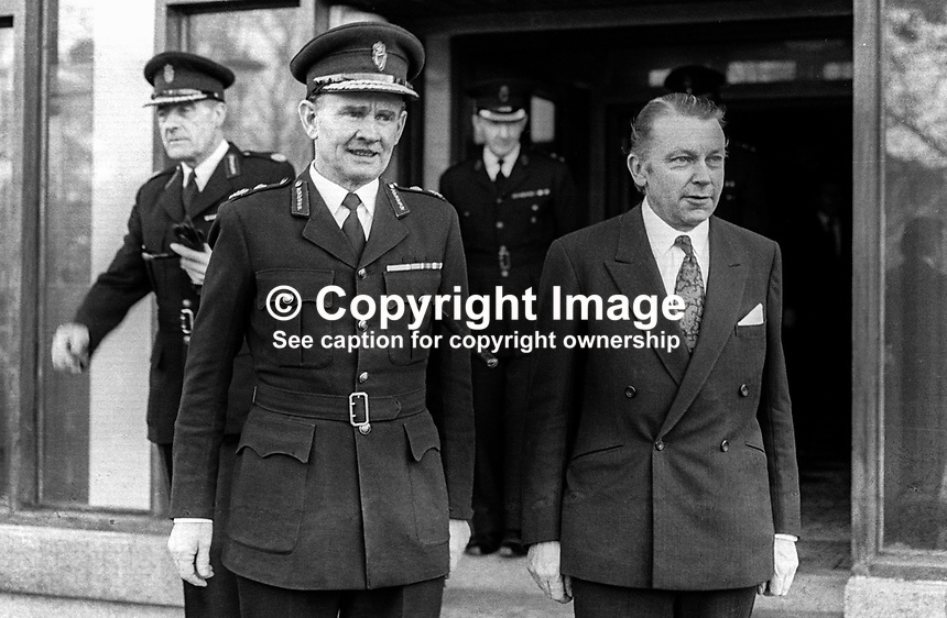 Recently-apponted Secretary of State for N Ireland, Francis Pym, meets RUC Chief Constable Jamie Flanagan at police headquarters, Belfast, 11th December 1973, 197312110761<br />