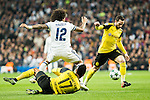 Real Madrid's Marcelo Vieira, Borussia Dortmund Pierre Aubameyang, during Champions League match between Real Madrid and Borussia Dortmund  at Santiago Bernabeu Stadium in Madrid , Spain. December 07, 2016. (ALTERPHOTOS/Rodrigo Jimenez)