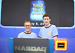 Jefferson Turner & Daniel Clarkson from the Off-Broadway Smash Hit 'Potted Potter' ring the closing bell at NASDAQ in Times Square, New York City on 7/5/2012