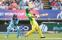 Glenn Maxwell (Australia) hammers a short delivery to the wide mid wicket boundary during Australia vs England, ICC World Cup Semi-Final Cricket at Edgbaston Stadium on 11th July 2019