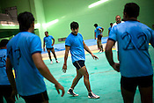 The Indian Kabbadi team is seen playing Kabbadi as part of the training at a month long camp in Sport Authority of India Sports Complex in Bisankhedi, outskirts of Bhopal, Madhya Pradesh, India.
