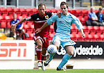 St Johnstone v Bristol City....28.07.12  Pre-Season Friendly.Ex-saint Jody Morris tackles Kevin Moon.Picture by Graeme Hart..Copyright Perthshire Picture Agency.Tel: 01738 623350  Mobile: 07990 594431