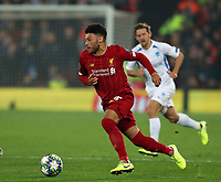 5th November 2019; Anfield, Liverpool, Merseyside, England; UEFA Champions League Football, Liverpool versus Genk; Alex Oxlade-Chamberlain of Liverpool races forward with the ball - Editorial Use