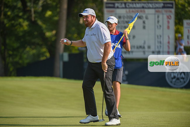 Shane Lowry (IRL) after sinking his putt on 9 during 2nd round of the 100th PGA Championship at Bellerive Country Club, St. Louis, Missouri. 8/11/2018.<br /> Picture: Golffile | Ken Murray<br /> <br /> All photo usage must carry mandatory copyright credit (© Golffile | Ken Murray)