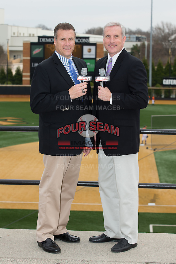 The Wake Forest Demon Deacons broadcast team of Lary Sorensen (left) and Stan Cotten pose for a photo prior to the game against the Miami Hurricanes at Wake Forest Baseball Park on March 22, 2015 in Winston-Salem, North Carolina. (Brian Westerholt/Four Seam Images)