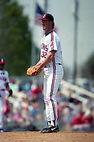 Cleveland Indians pitcher Mike Christopher (32) during Spring Training 1993 at Chain of Lakes Park in Winter Haven, Florida.  (MJA/Four Seam Images)