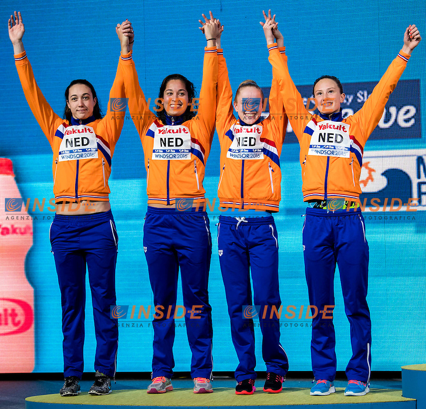 Netherlands NED Silver Medal <br /> VAN VLIET Tamara KROMOWIDJOJO Ranomi DE WAARD Maaike BUSCH Kim <br /> Women's 4x50m Freestyle<br /> 13th Fina World Swimming Championships 25m <br /> Windsor  Dec. 11th, 2016 - Day06 Finals<br /> WFCU Centre - Windsor Ontario Canada CAN <br /> 20161211 WFCU Centre - Windsor Ontario Canada CAN <br /> Photo &copy; Giorgio Scala/Deepbluemedia/Insidefoto