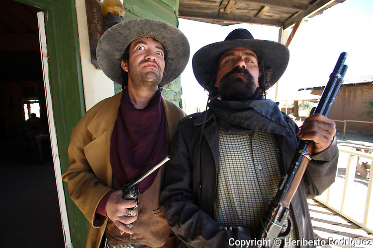 Mexican actors stage a performance in the old  movie set of Villas del Oeste, in northern state of Durango. U.S. actor John Wayne performed some of his movies in this location. Photo by © Heriberto Rodriguez