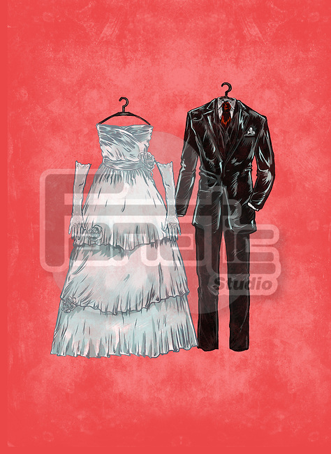 Illustrative image of suit and wedding dress against red background
