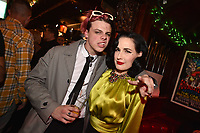 "HOLLYWOOD - FEBRUARY 20: Yungblud and Dita Von Teese attend Ozzy Osbourne global tattoo and album listening party to celebrate his new album ""Ordinary Man"" on February 20, 2020 in Hollywood, California. (Photo by Lionel Hahn/Epic Records/PictureGroup)"