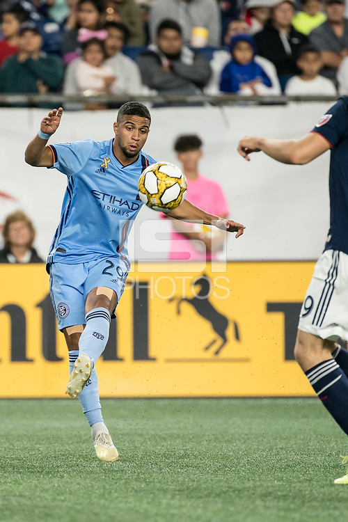FOXBOROUGH, MA - SEPTEMBER 29: Ismael Tajouri-Shradi #29 of New York City FC receives a pass during a game between New York City FC and New England Revolution at Gillettes Stadium on September 29, 2019 in Foxborough, Massachusetts.
