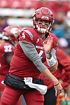 Luke Falk, Washington State University quarterback, warms up prior to the Cougars non-conference game against their neighbors from the University of Idaho on September 17, 2016.   The Cougs defeated the Vandals at Martin Stadium, 56-6.