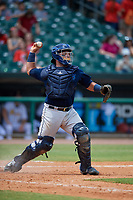 Mobile BayBears catcher Julian Leon (20) throws down to second base during a Southern League game against the Montgomery Biscuits on May 2, 2019 at Riverwalk Stadium in Montgomery, Alabama.  Mobile defeated Montgomery 3-1.  (Mike Janes/Four Seam Images)