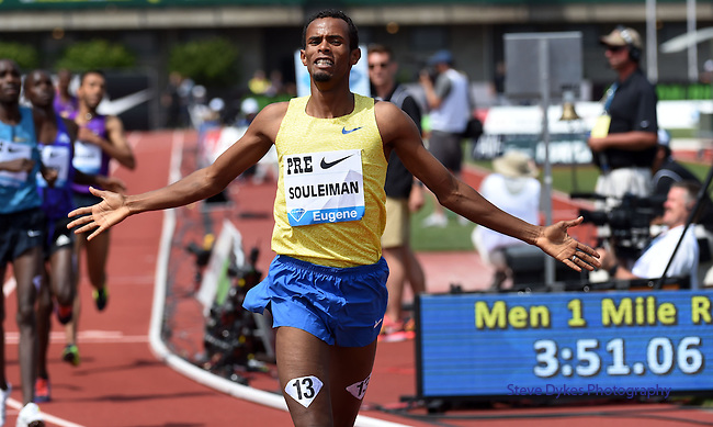 Ayanleh Souleiman of Djibouti celebrates after winning the Men's One Mile Run on the final day of the Prefontaine Classic at Hayward Field in Eugene, Oregon, USA, 30 MAY 2015. (EPA photo by Steve Dykes)