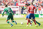 Atletico de Madrid's Filipe Luis and Antoine Griezmann  and Real Betis's Pezzella during BBVA La Liga match. April 02,2016. (ALTERPHOTOS/Borja B.Hojas)
